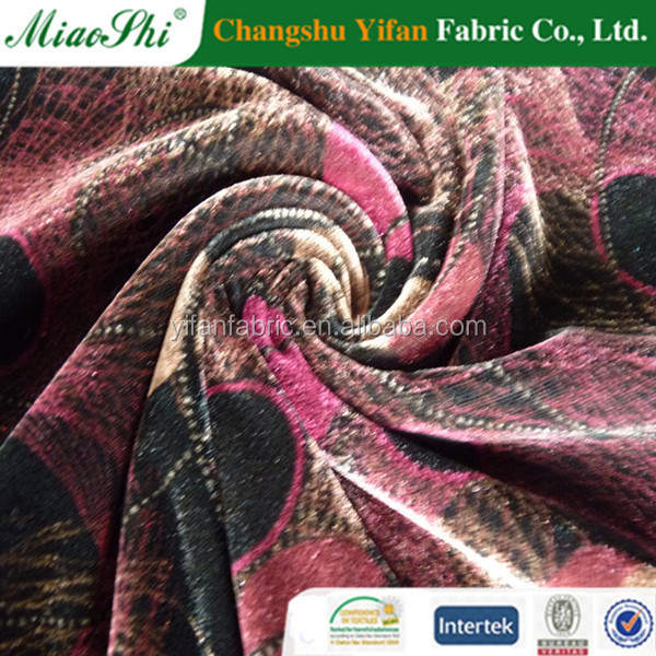 Discharge printing spun velvet fabric for inner clothes made by Changshu producer
