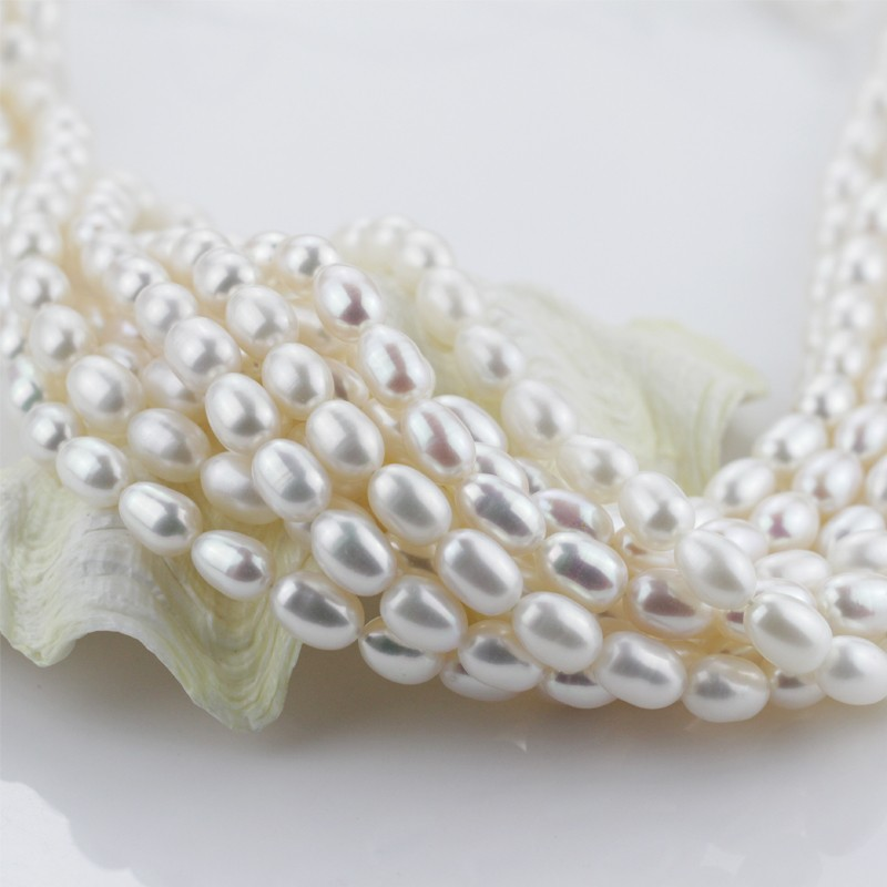 9mm AAA grade top quality rice shape natural tear drop pearl strand