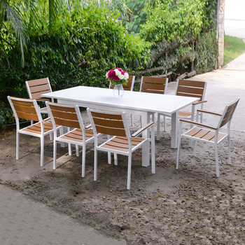 Fantastic White Powder Coated Extendable Table Plastic Wood 6 Seaters Outdoor Dinning Furniture Set Buy Outdoor Dinning Furniture Set Extendable Dinning Table Inzonedesignstudio Interior Chair Design Inzonedesignstudiocom