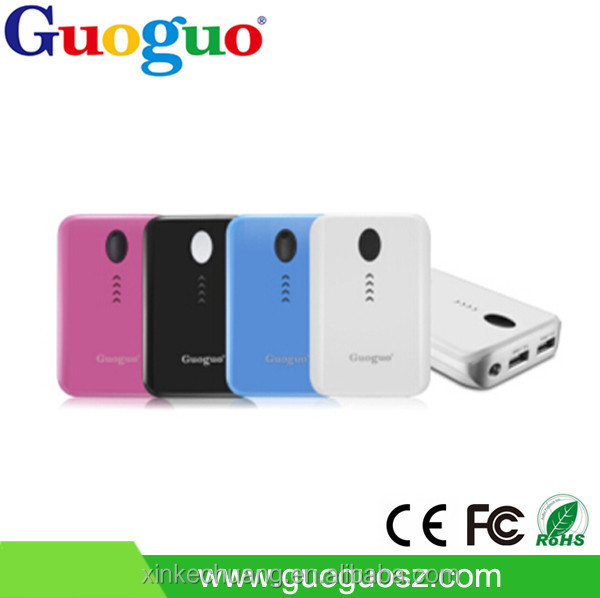 Guoguo fast charging 2.1A output led torch dual usb portable rohs power bank 6600mah for samsung