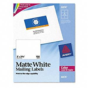 Avery : Shipping Labels for Color Laser & Copier, 3 x 3-3/4, Matte White, 150/Pack -:- Sold as 2 Packs of - 150 - / - Total of 300 Each