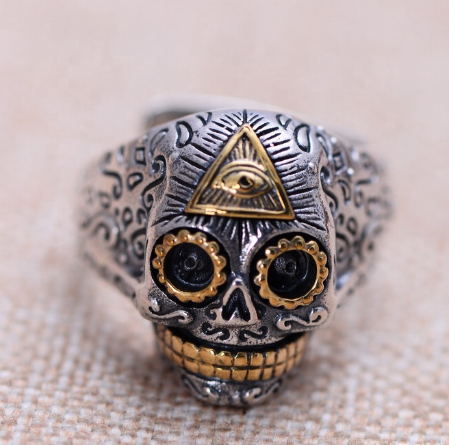 Wing eye jewelry punk skull men ring 925 Sterling <strong>silver</strong>