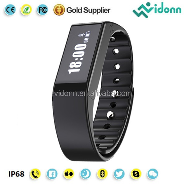 Vidonn X6S free app android ios compatible caller ID & SMS notifications IP68 waterproof smartband fitness tracker