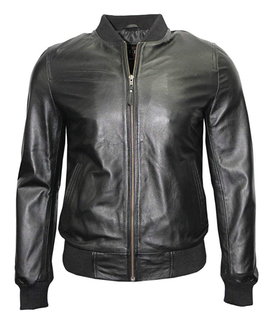 Mens Retro Black Nappa Leather Bomber Slim Fit Casual Varsity Jacket