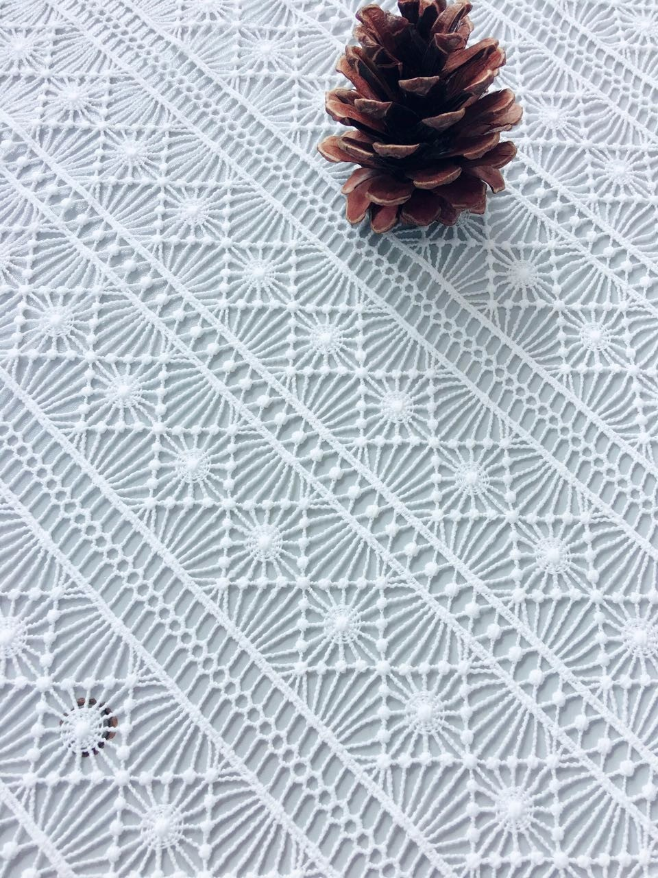 latest design 100% polyester water soluble chemical embroidery lace textile fabric for lady dress