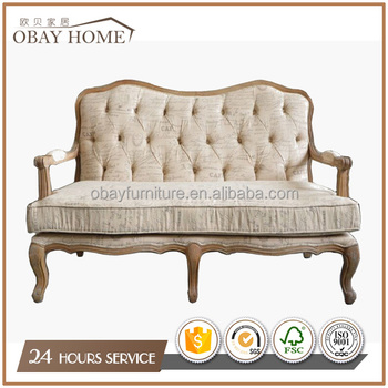 Accent On Tufted Back 2 Seater Sofas Antique French Solid Wood Frame Sofa Product