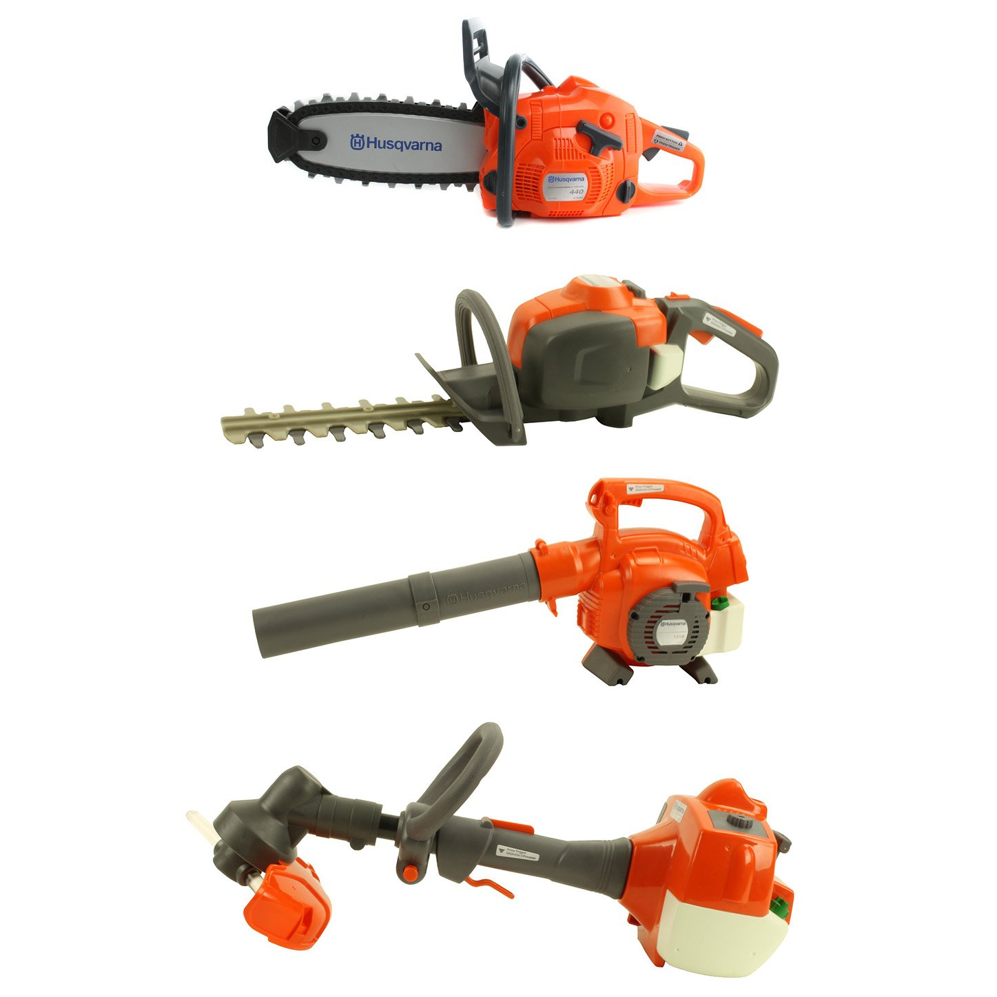 Husqvarna Battery Operated Kids Trimmer + Chainsaw + Hedge Trimmer + Blower Toys