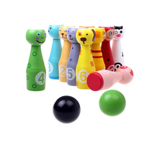 Wholesale Outdoor Funny Games Colorful Mini Animals Wooden Bowling Ball