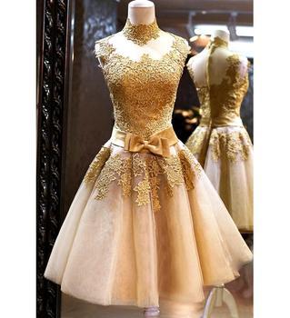 Elegant Luxury Celebrations Evening Short Style Gold Cocktail Dress