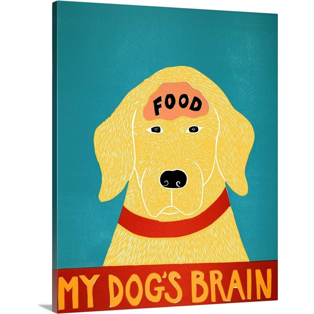 "Gallery-Wrapped Canvas Entitled My Dogs Brain II Food Yellow Stephen Huneck 16""x20"""
