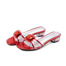 Meotina/Летняя обувь женские шлепанцы со стразами на квадратном каблуке прозрачные шлепанцы с открытым носком женские сандалии красный цвет, б...(Китай)