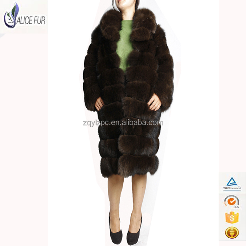 2016 new fashion design sable color Detachable Women winter real fox fur coat with big fur collar