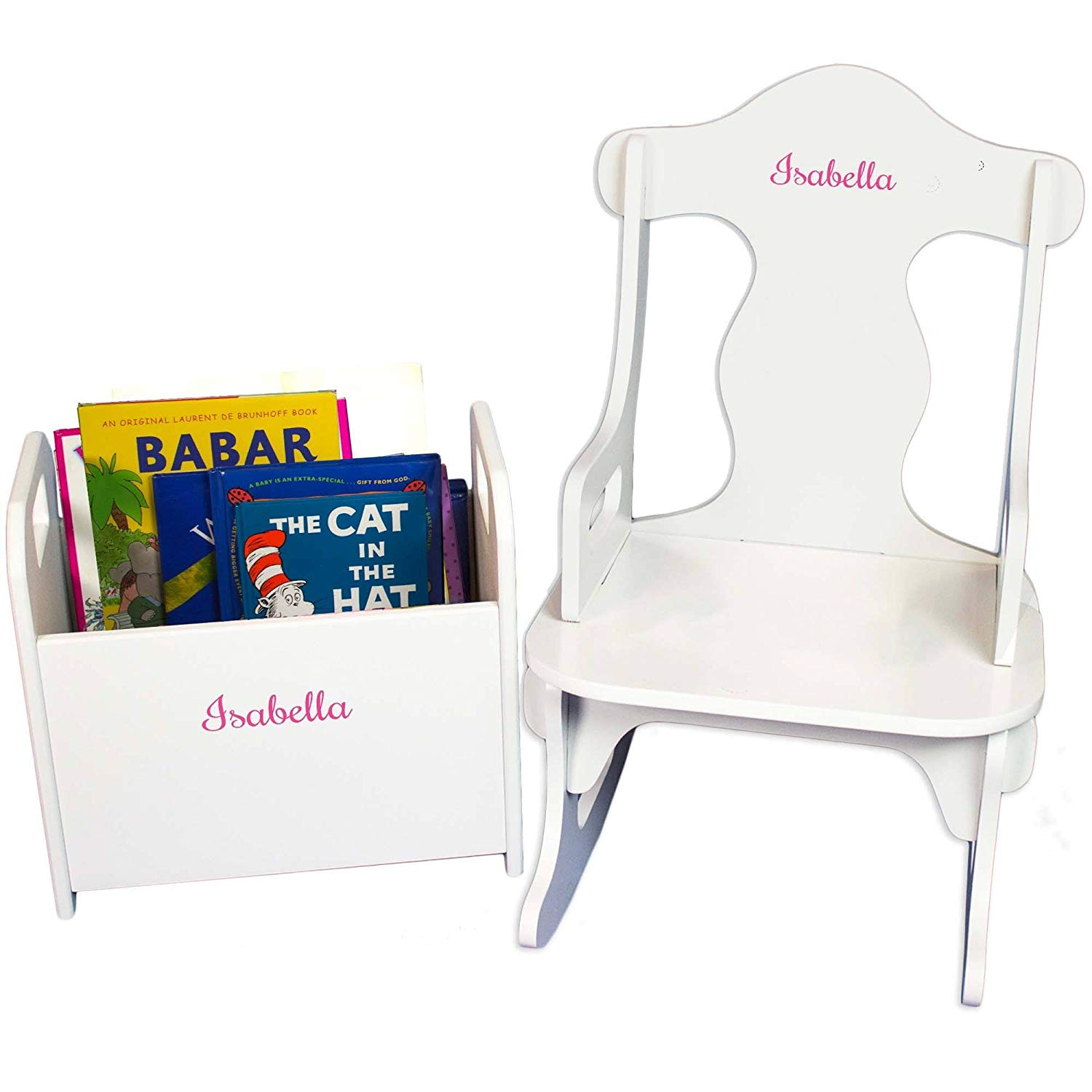 MyBambino Personalized Girls with name only Book Holder and Puzzle Rocker Set
