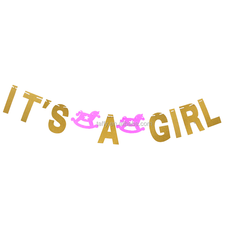2017 new glitter ITS A GIRL banner gender reveal baby shower favor decorations