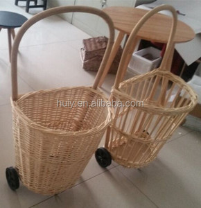 Natural willow weaved wicker shopping trolleys with handle and 2 wheels