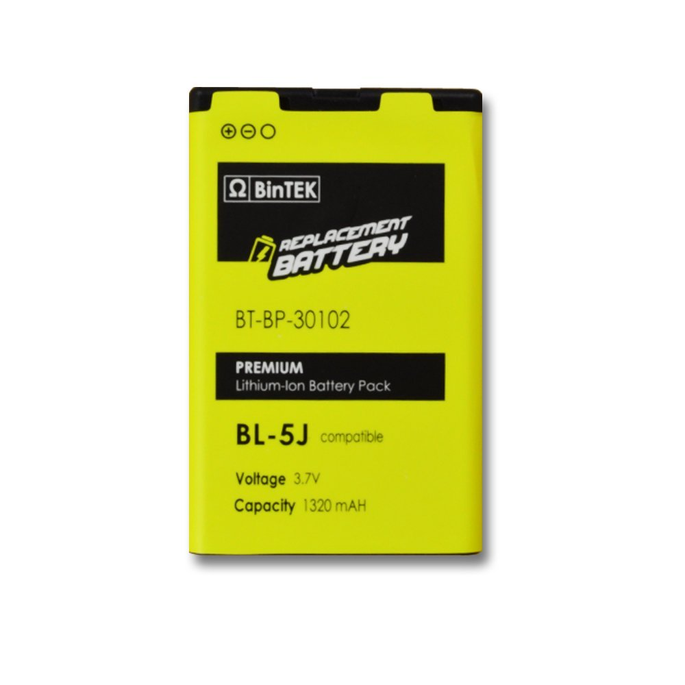 BinTEK Nokia Lumia 521 Battery Nokia Nuron Battery 5228 5235 XpressMusic 5800 N900 C3 X6 Nokia BL-5J Battery 1320mAH Premium Li-Ion Battery