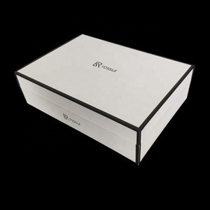 Custom White bottom black Trim UV Printing Sweater Packaging Boxes With Lid