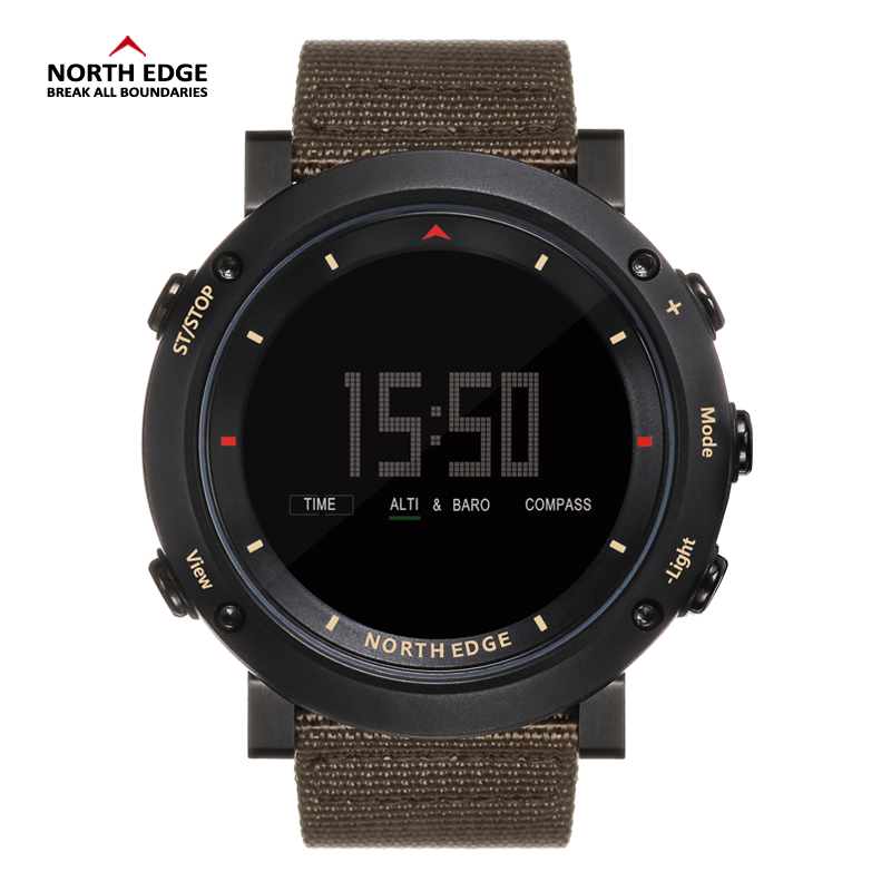 North Edge OEM watch custom automatic wrist watch sport silicone band waterproof nylon strap analog digital watch for men