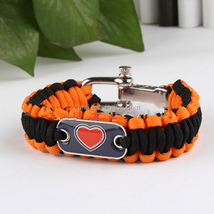 DRUGS charm mini side release buckle paracord survival bracelet with heart logo