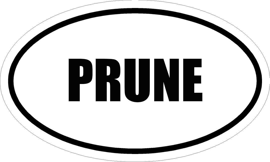 "6"" PRINTED white vinyl PRUNE oval Euro impact style vinyl decal sticker"