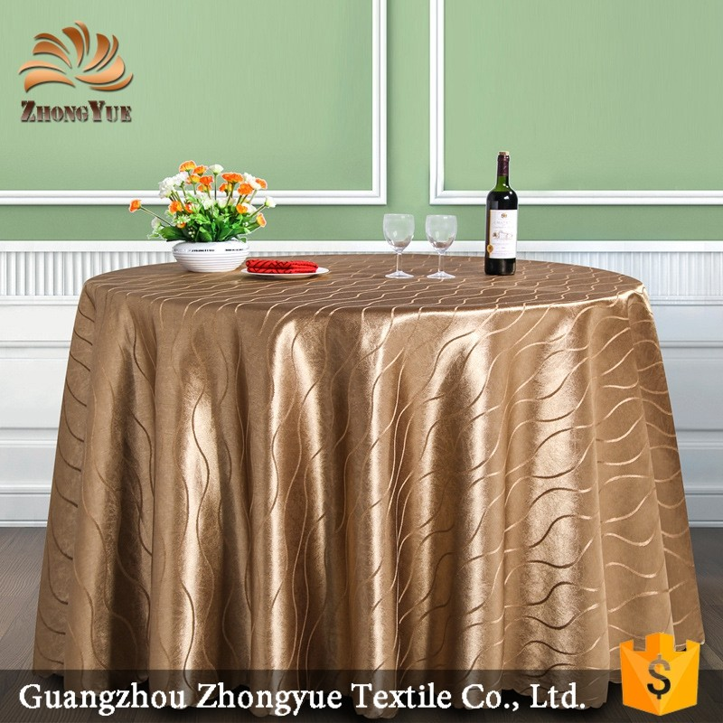 Golden polyester table cover party wedding hotel round tablecloth