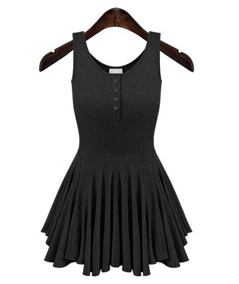 00936c892c24 Get Quotations · Summer Women's Sexy Pleated Rib Knit Sleeveless Dresses  2015 Casual Cotton Vest O-neck Ruffles