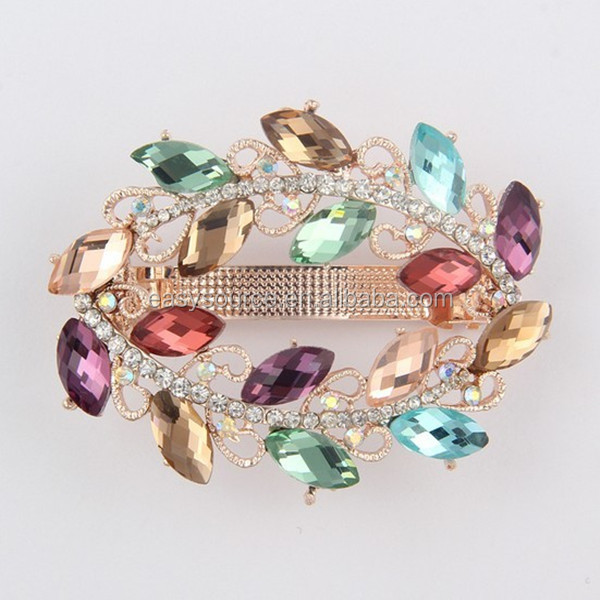 female jewelry ornaments crystal rhinestone Hair accessory wholesale colorful leaves hair clips