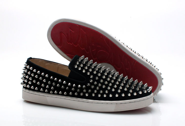 Black matte leather silver spike Low shoes 2015 hot sale size 35-46 red bottom Flats men sneakers