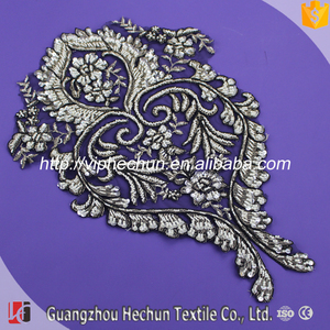 HC-1998 Tulle Textile Design 100 % Handwork Embroidery Designs Lace Applique Bridal with Bead
