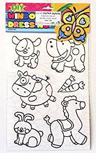 Variety of animals 1 DIY Coloring Stained Stickers For Kids Art and Crafts For Kids Window Clings Family Activities Fun Crafts For Kids Art Projects Removable Windows Stained Glass Decals