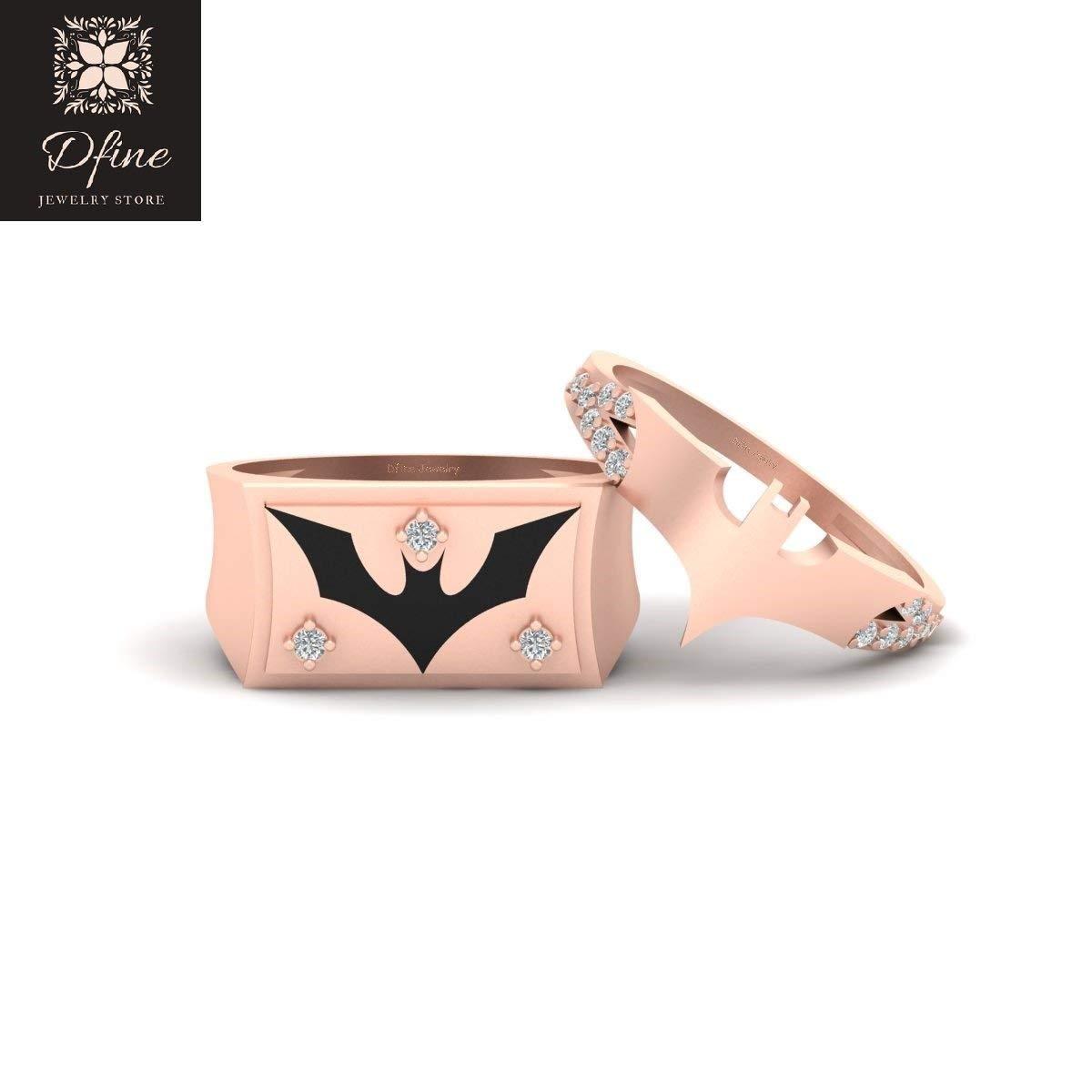 His and Her Batman Superhero Theme Engagement Ring Band Set Solid 14k Rose Gold Batman and Batgirl Matching Couple Rings