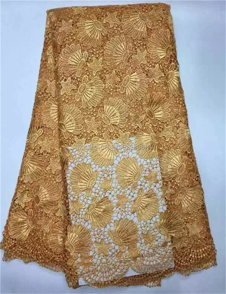 Tokay Style Lace New Design 2015 Gold Africam Fabric Wholesale, Nigeria Fashion Dresses Seashell Embroidered Cord Lace Fabric