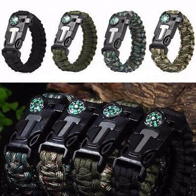 Rope Paracord Survival Bracelet Flint Fire Starter Compass Whistle Whistle Buckle Survival Kits
