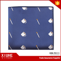 Zhejiang HIgh Quality Leisure Polyester Cigarette and Cup Pattern Navy Blue Tailored Pocket Square