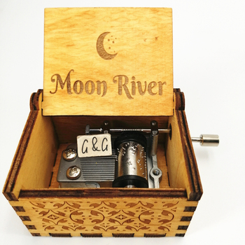 Mini Wooden Music Box Moon River Custom Music Box A Gift Box