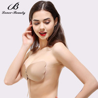 Lover Beauty Strapless Self Adhesive Silicone Invisible Push-up Bras With Drawstring For Women Sticky Bra