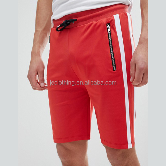 Hot sale men side stripe pants custom drawstring shorts Gym wear fitness with zip pocket shorts
