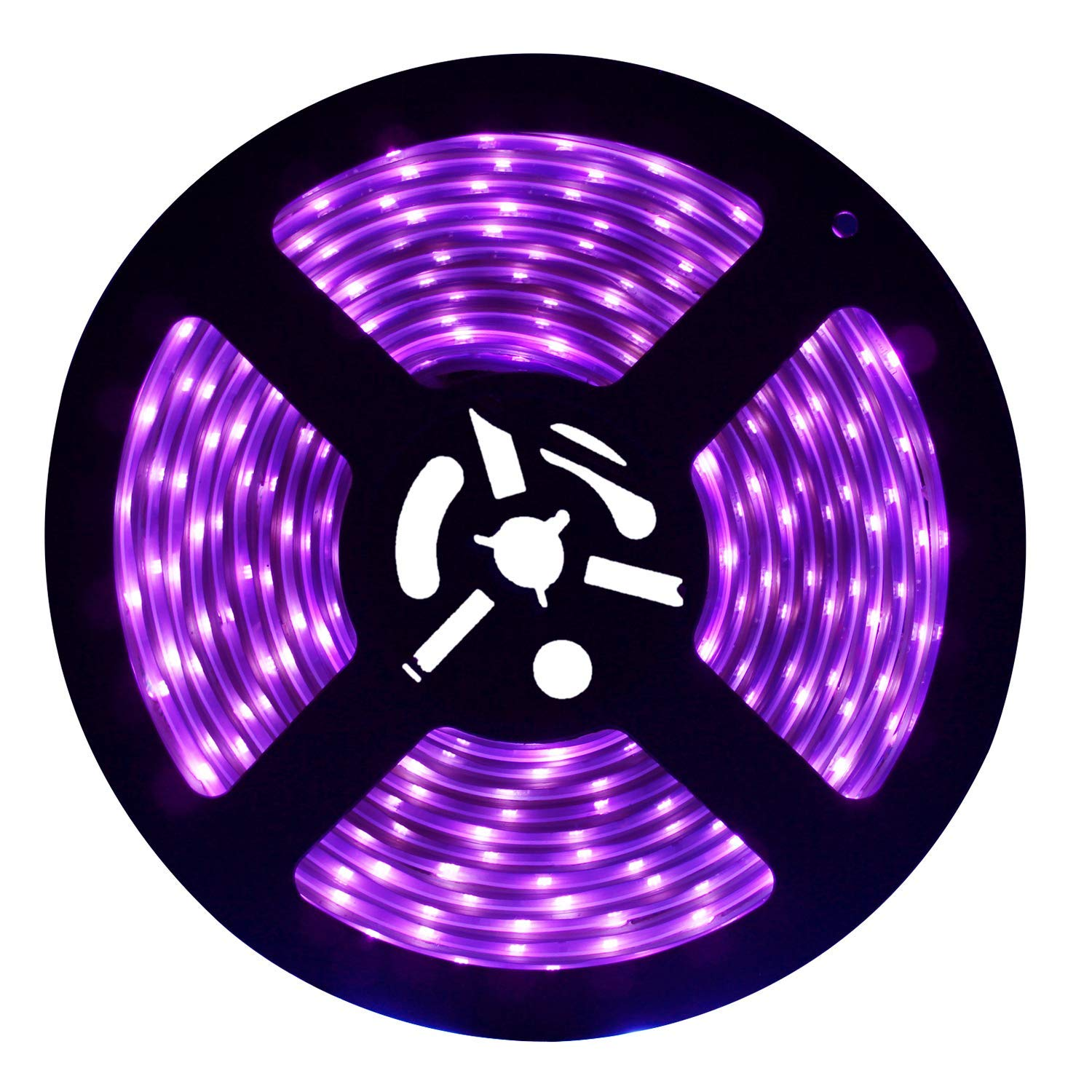 UV LED Black Light Strip, Exulight Flexible Ultraviolet 395-405nm 2835 SMD String Lights, 16.4Ft/5M 300LEDs Waterproof IP67 60 Watts Purple Tape Lamp with DC12V 3A Power Supply