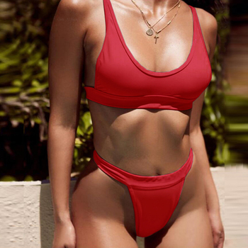 New Hot Selling Products Double Shoulder Swimsuit Split Bikini Sporty Casual Swimwear