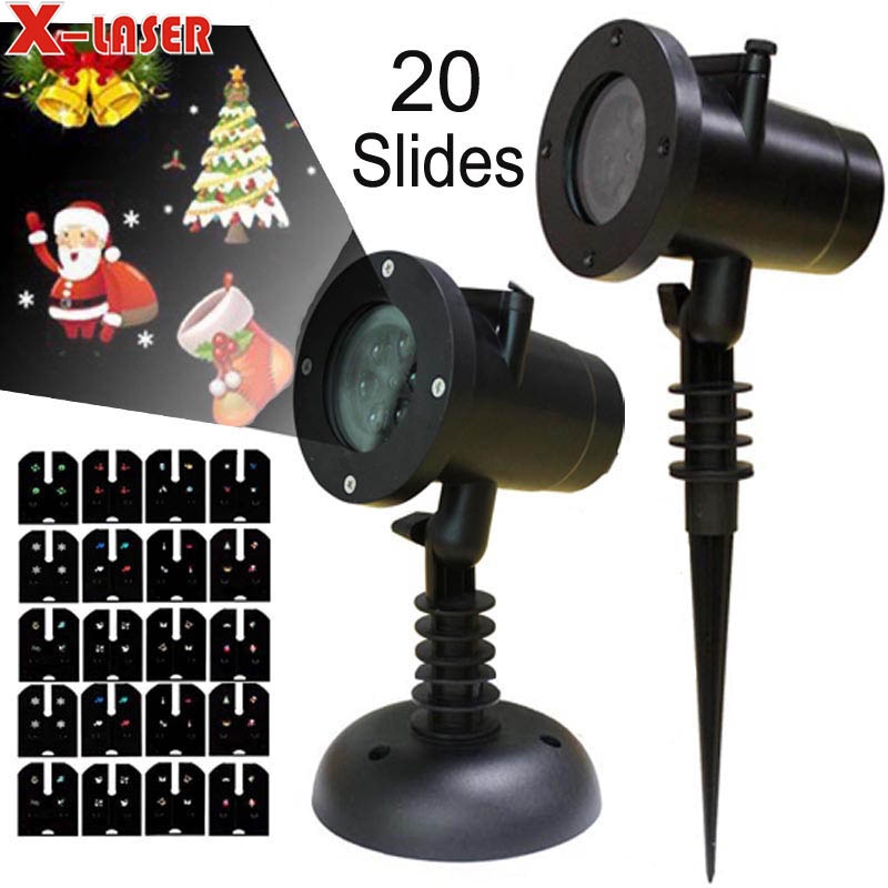 LED Christmas Light 20 Images Projection Light Outdoor Laser Garden Shower Disco Party Laser Projector Lamp Starlight