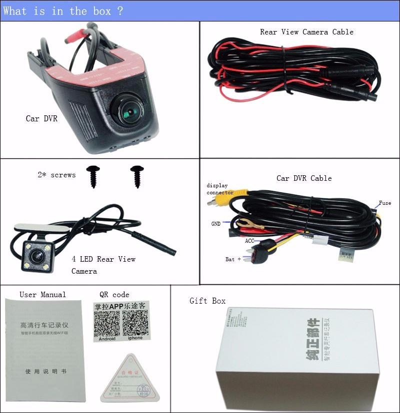 For citroen c4 c-quatre Car Parking Camera APP control Car Wifi DVR WDR  Dual Camera Car Black Box camcorder