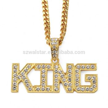 Hip hop KING Pendant Necklace American hip-hop black rapper KING jewelry feacc5758