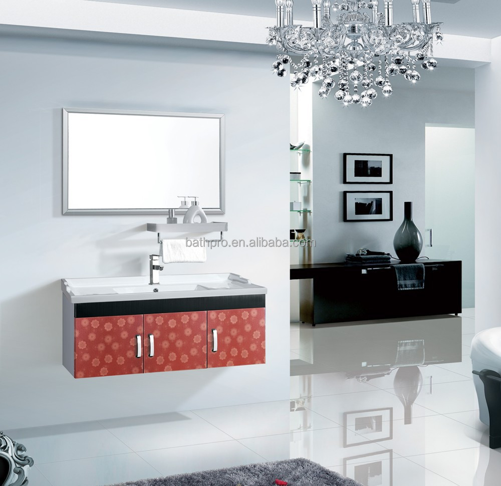 2015 fashion red color modern metal bathroom cabinet