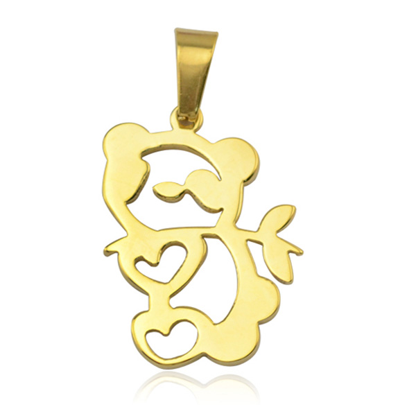 Jewelry stainless steel necklaces with teddy bear animal pendants