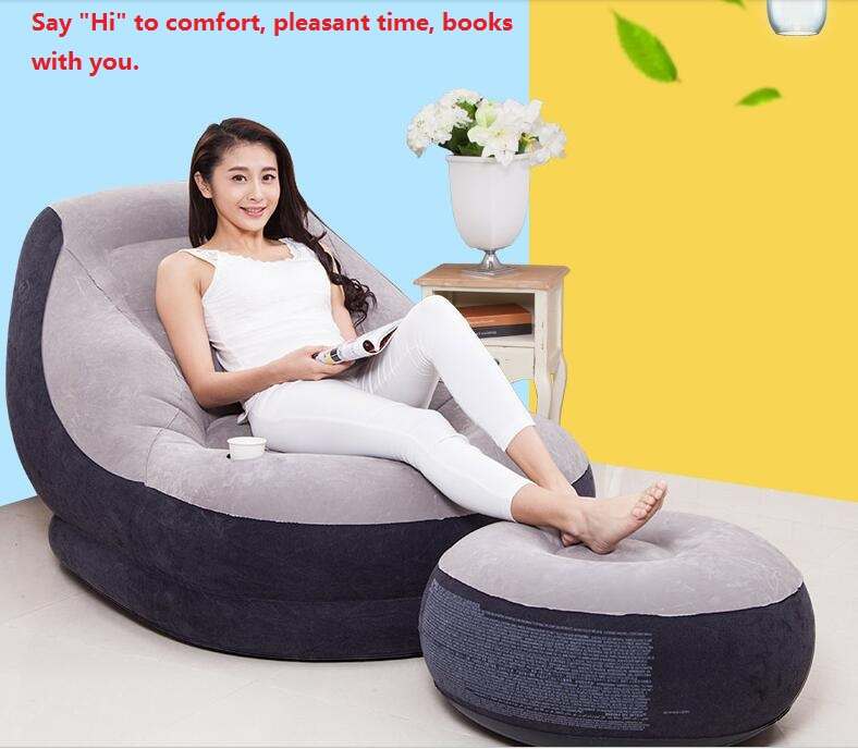 Humor Modern Adult Inflatable Solid Sofa Leisure Living Room Furniture Comfortable Recreational Flocking Pvc Lounger Sofa Chair Accessories