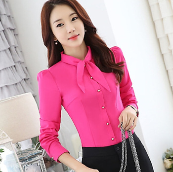 90bdfa60 2016 Korean Kurti Style Shirt Patch Work Neck Design Ladies Office Blouse