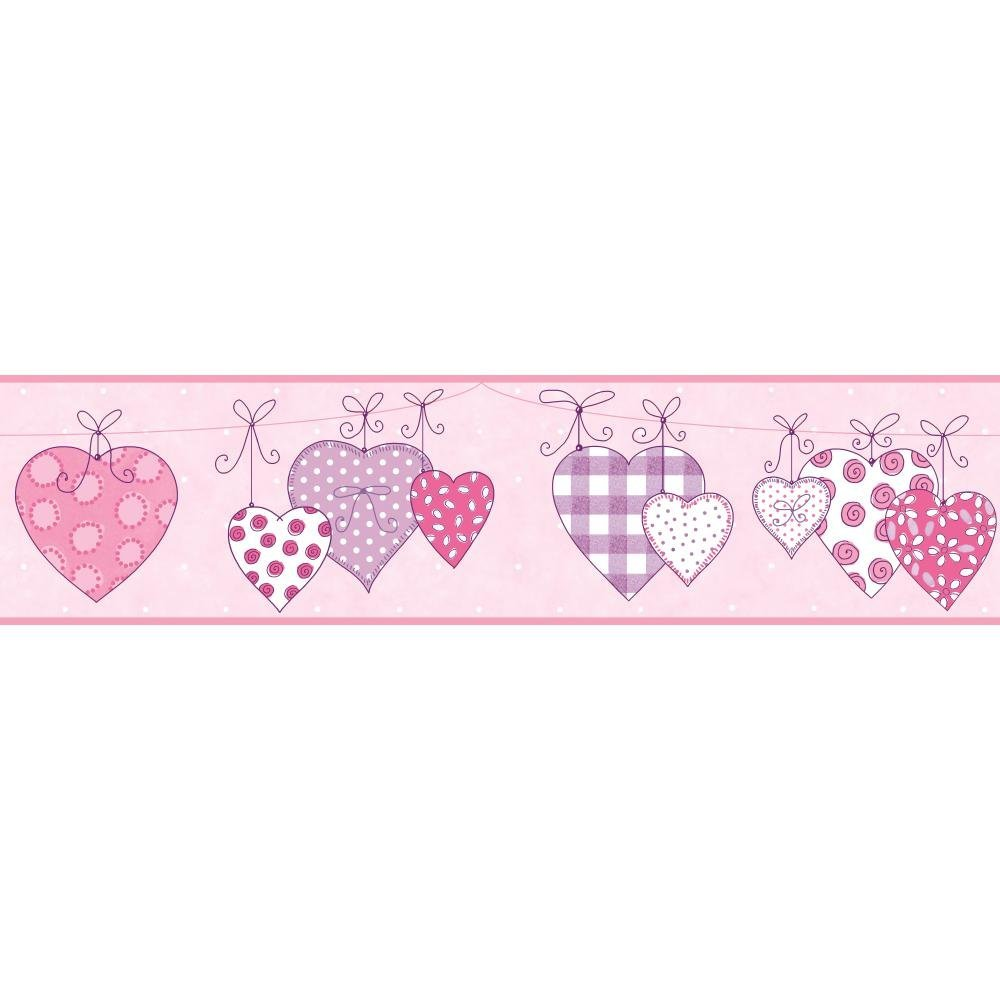 York Wallcoverings Walt Disney Kids II Flower and Hearts Wallpaper Memo Sample Light Purple//Dark Purple//Pink//Teal//White 8-Inch x 10-Inch