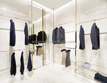 Brand Clothing Shop Interior Design Fashion Jewelry Glass Display Shelves And Clothes Cases
