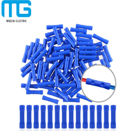 Mogen 100pcs 16-14 Gauge Butt Insulated Splice Terminals Electrical Wire Crimp Connectors (Blue / 16-14AWG)
