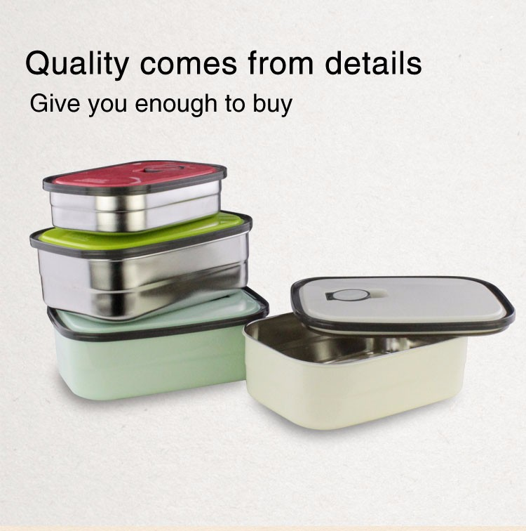 High quality food grade colorful preservation box,stainless steel lunch box/ crisper with plastic lid